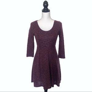 Altar'd State Plum Purple Fuzzy Sweater Dress